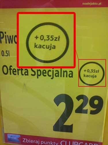Piwo, kacuja? Śmieszne literówki na promocji Tesco, zdjęcie: noalejakto.pl