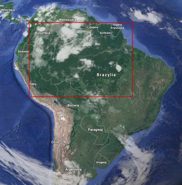 Amazonia, źródło: mapy.google.pl