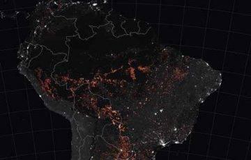 Pożary w Amazonii zarejestrowane przez satelity NASA