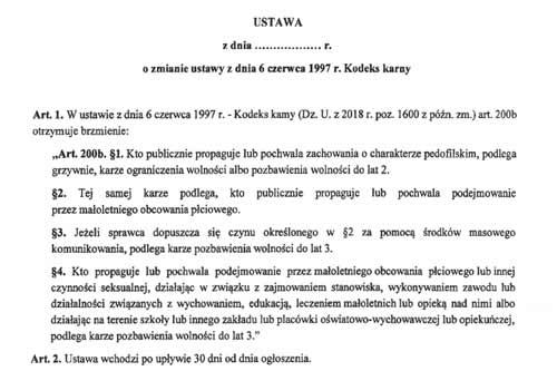 Art. 200b KK - projekt zmian, zdjęcie: scan projektu ustawy