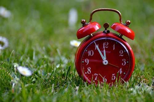 Budzik na trawie jako metafora zmiany czasu z zimowego na letni, foto: pixabay.com