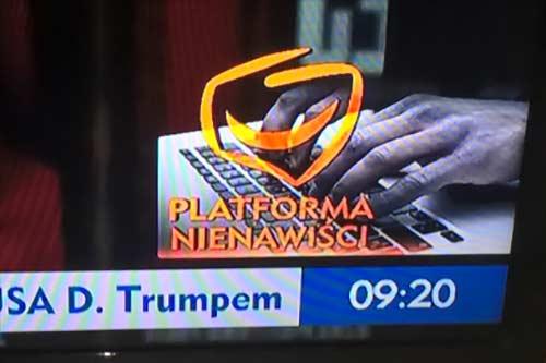 Platforma Nienawiści - takie napisy w TVP, źródło nieznane