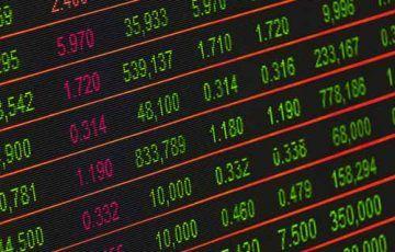 Notowania giełdowe, tablica z notowaniami